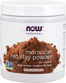 Now Solutions, Moroccan Red Clay Powder, Pure Powder for Sensitive Skin Facial Mask, 14-Ounce