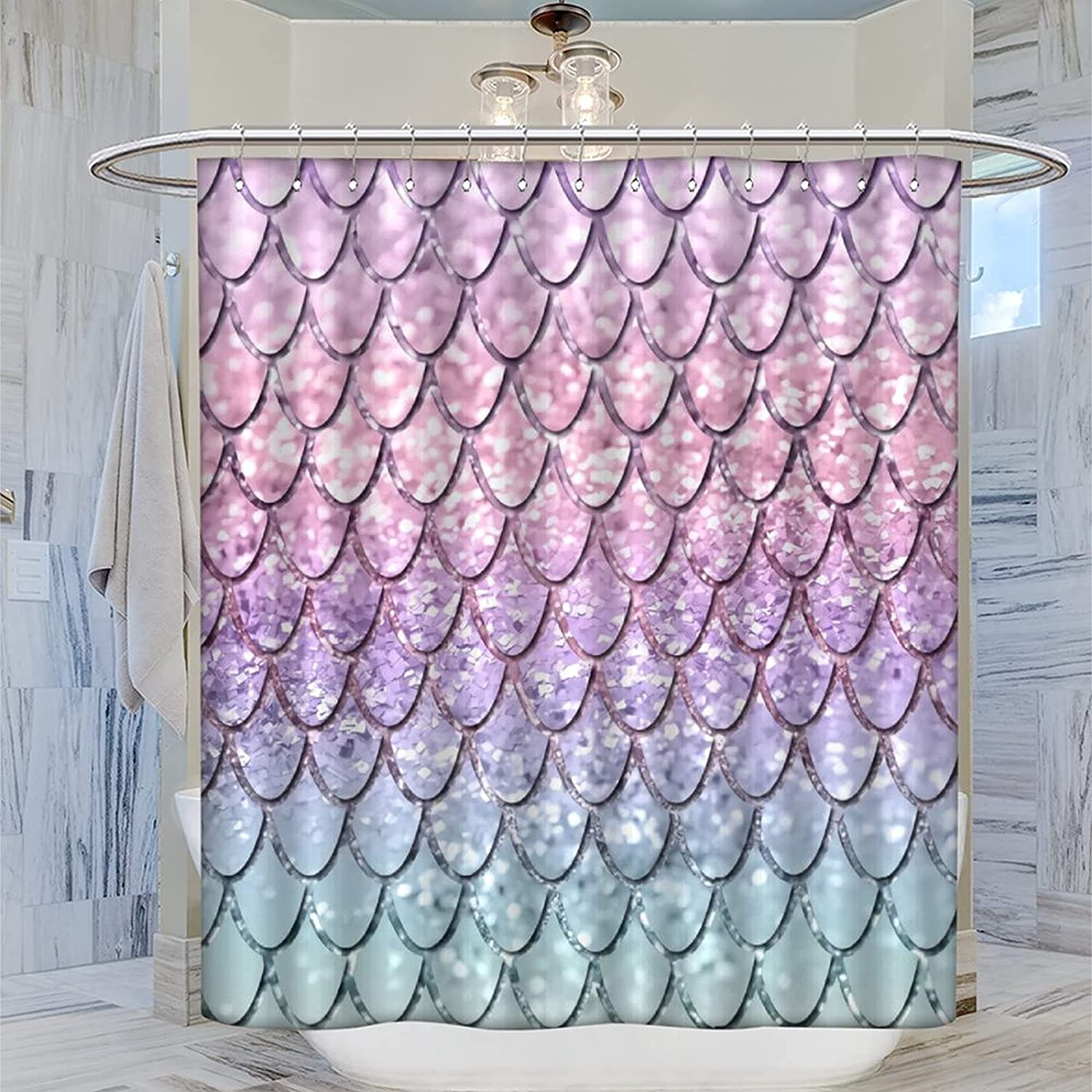 Picture Fabric Bathroom Curtain Large special Surprise price price Mermaid Shower Cu Glitter Scales