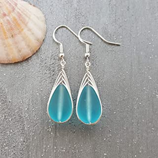 Handmade in Hawaii, wire braided blue sea glass earrings,