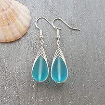 "Handmade in Hawaii, wire braided blue sea glass earrings,""December Birthstone"", Hawaiian Gift, (Hawaii Gift Wrapped, Customizable Gift Message)"