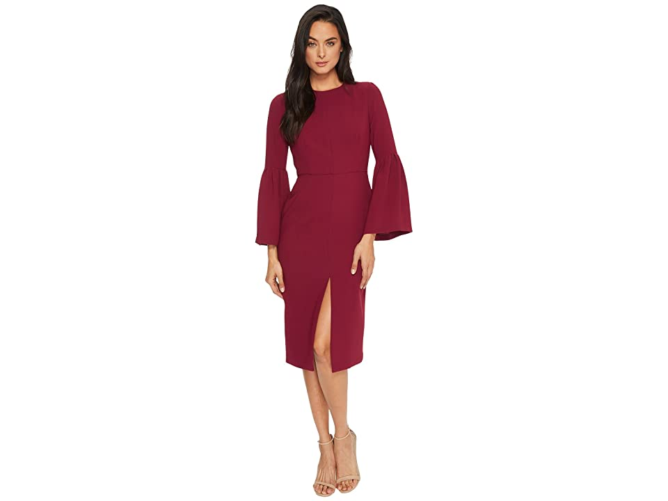 JILL JILL STUART Bell-Sleeve Tea-Length Dress (Black Currant) Women
