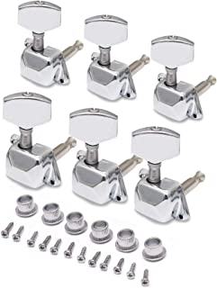 Metallor Semiclosed String Tuning Pegs Machine Heads Tuners 6 In Line Right Hand Electric Acoustic Guitar parts Replacement Set of 6Pcs Chrome.
