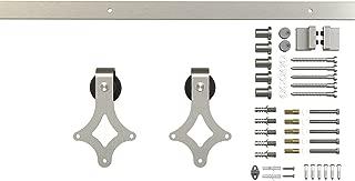 6.6ft 1 Rail Satin Nickel Steel Sliding Barn Door Hardware Flat Track Kit,Rhombic Hanger Roller