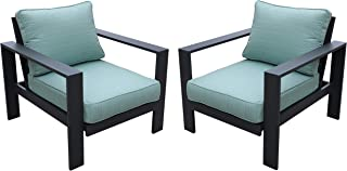 All Weather Aluminum Framed Outdoor Patio 2 Club Chair Garden Furniture with Cushions (Aqua Color Cushion)