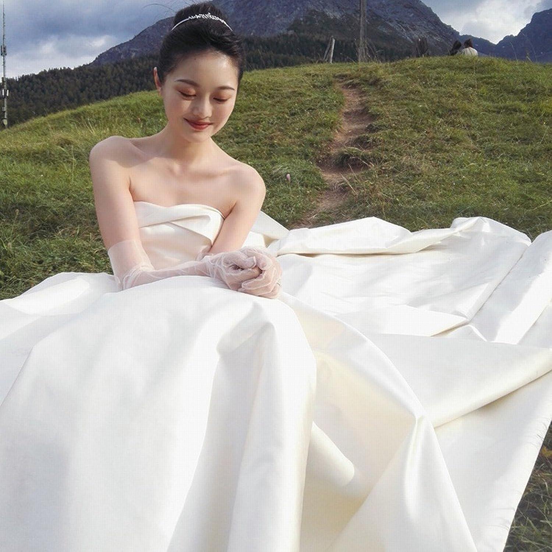 DIDIDD Bride Wedding Dress Large Size Tube Top Small Trailing Wedding Dress