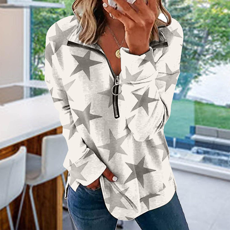 Huangse Women's Butterfly Printed Graphic Loose Tee 1/4 Zipper Sweatshirt Short Sleeve V Neck Star Pattern Pullover T-Shirt
