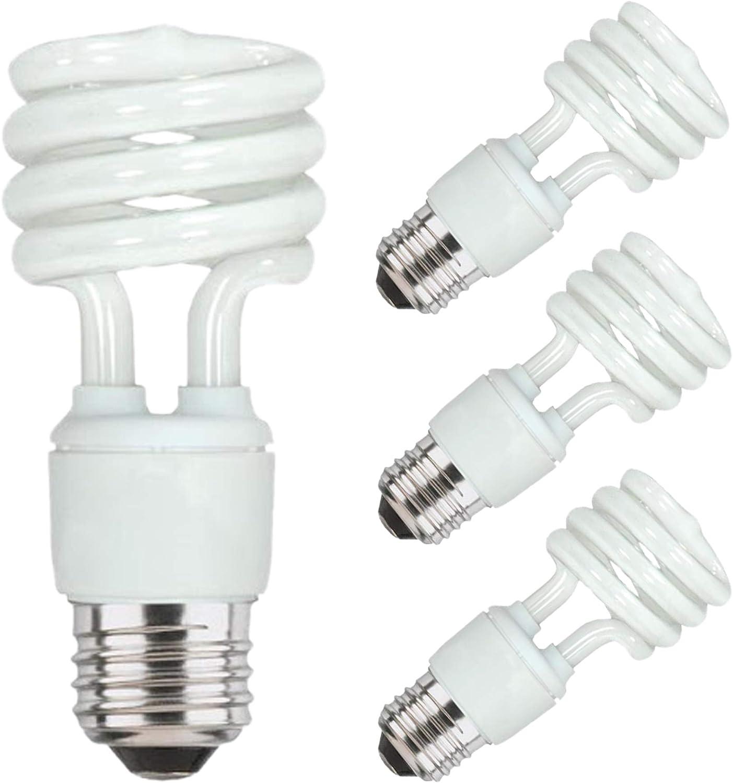 2700K 120 Volt Base 13 Watt Light Bulbs Mini Twist Fluorescent Light Bulb Medium Cfl Light Bulbs Energy Saver Light Bulbs Spiral Light Bulbs E26 900 Lumens 16 Pack