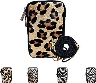 1 x Handytasche aus Echtleder für Damen, kleine Umhängetasche mit verstellbarem Tragegurt, Schultertasche, Brieftasche, Le...