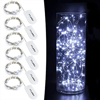 CYLAPEX 6 Pack Cool White Fairy String Lights Battery Operated Fairy Lights Firefly..