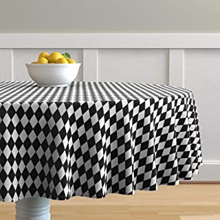 Roostery Round Tablecloth, Harlequin Check Diamond Black and White Geometric Print, Cotton Sateen Tablecloth, 90in