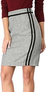 Allegra K Women Contrast Striped Ribbon Slit Back Pencil Skirt