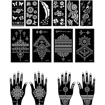 Amazon Com Parth Impex Henna Tattoo Stencils Pack Of 12 Self Adhesive Beautiful Body Paint Art Designs Temporary Mehndi Drawing Hand Template Beauty