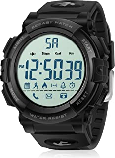 Mens Sport Watch with Pedometer, 51mm Digital Watches Waterproof with Stopwatch Calorie Distance Call&APP Notification for Men