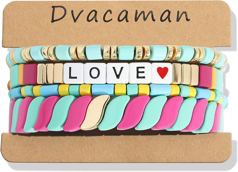 Dvacaman 3-7Pcs Bohemian Enamel Beaded Stretch Bangles Stackable Bracelets Set for Women Promise Bracelet for Couples Multicolor Bracelets