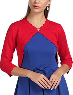 1168bc4a15 GRACE KARIN Women s Classic 3 4 Sleeve Open Front Knit Cropped Bolero  Cardigan