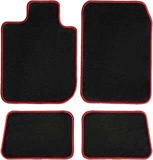 GGBAILEY Ferrari 360 Modena 2000, 2001, 2002, 2003, 2004 Black with Red Edging Driver, Passenger & Rear Floor Mats