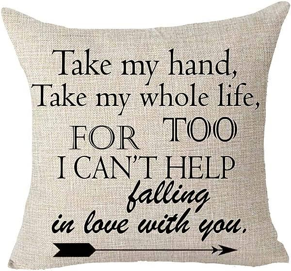 女王的设计师牵着我的手牵着我的一生我也情不自禁爱上了你棉麻装饰家居办公室抱枕套靠垫套方形 18X18 英寸 B