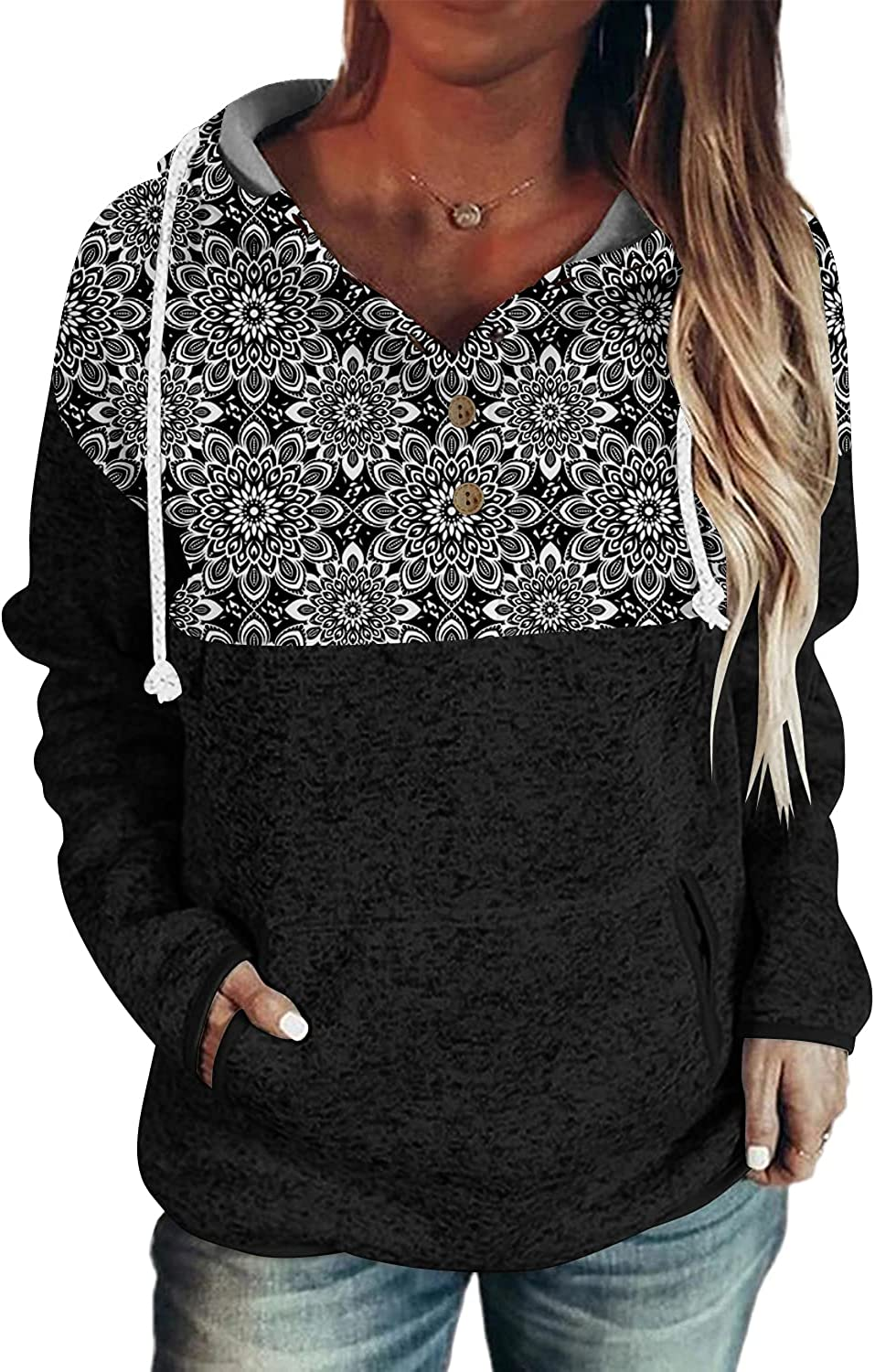 Magritta Women's Pullover Hoodie Button Collar Drawstring Long Sleeve Sweatshirt with Pockets
