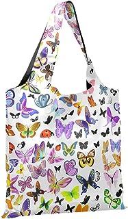 CaTaKu Vintage Rainbow Sacs de courses Insectes Papillon Sac d'épicerie Pliable Grande Durable Réutilisable Poche en vrac ...
