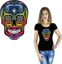 Skull Iron on Patches Summer New Fashion Clothing T-Shirt Heat Transfer Printed Men Streetwear Personality DIY Decal Washable Sticker Patches for Women Boy Clothes Appliques