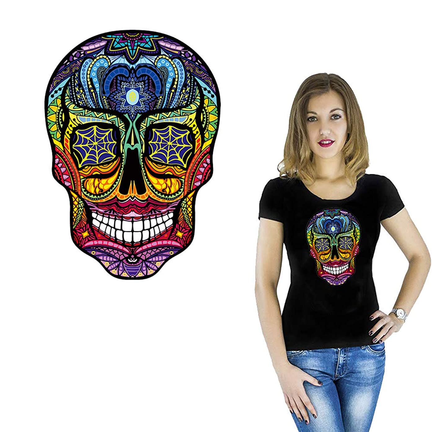 Skull Iron on Patches Summer New Fashion Clothing T-Shirt Heat Transfer Printed Men Streetwear Swimsuit Bags Different Colorful Decal Personality DIY Washable Sticker Patches for Women Boy Clothes