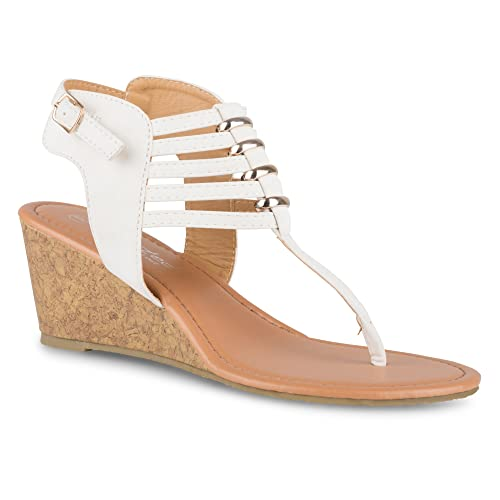 560a5ab814b Twisted Women s Riley Metal Ring Low Wegde Sandal with Strappy Ankle Wrap