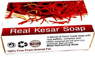 The Shopping Icon Hand Made Real Kesar Bath soap for Unisex, Best for All types of skin, Saffron soap for fairness and ski...