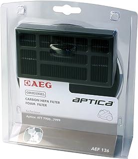 AEGAEF136 Filter-Set für beutellose Staubsauger 1 Motorfilter, 1 Hygienefilter, saubere Luft, Anti-Geruch, ideal für Haustierbesitzer, passgenau, Hepa Filter für AEG Aptica TT & Vampyr T10, schwarz