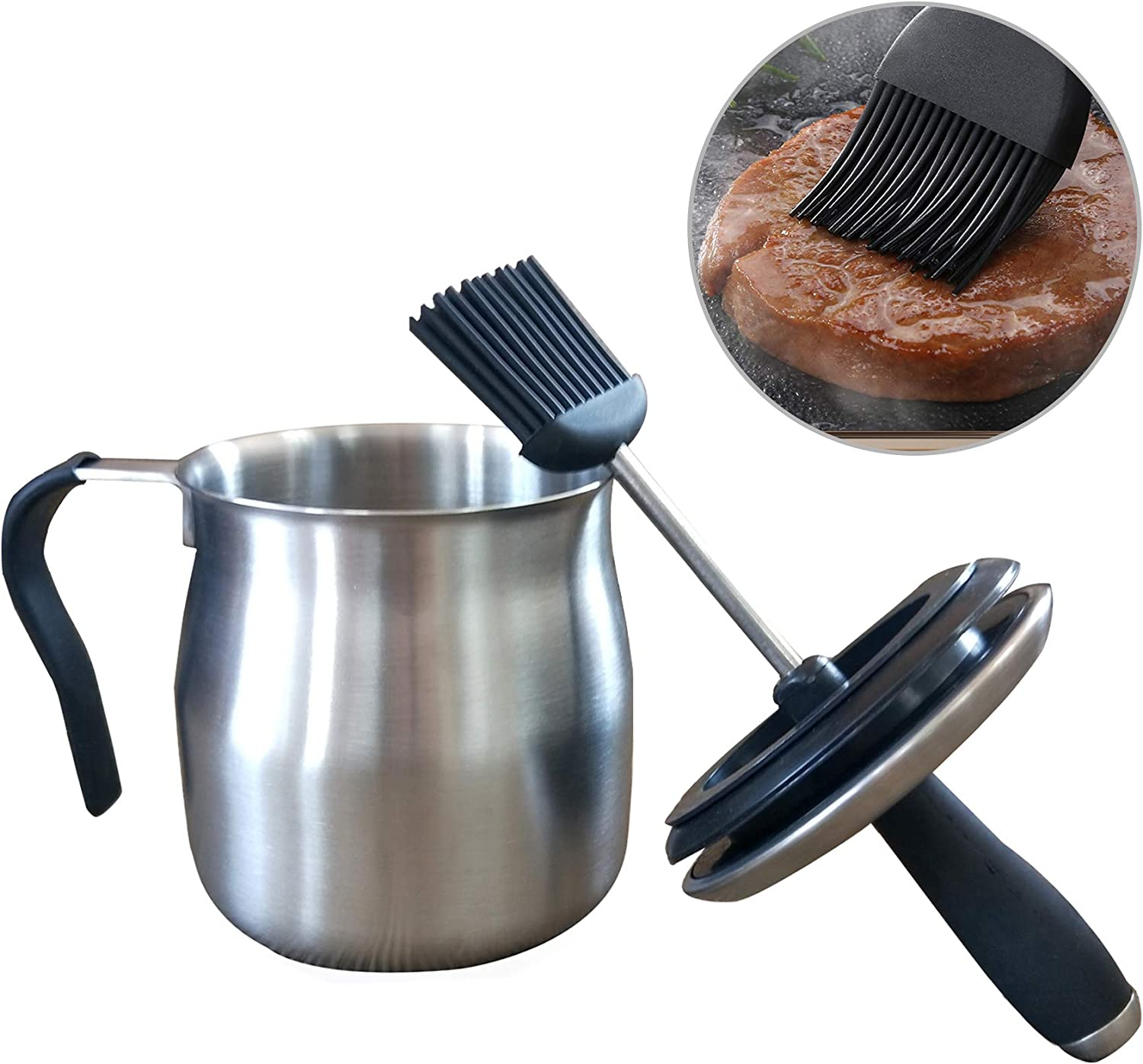 Sauce Pot and Basting Brush Pot Set Grill Gadgets for Men Grilling Smoking Meat Accessories Outdoor BBQ Gifts Kitchen Tools for Cooking Barbecue Pastry Baking Party Cakes Desserts : Garden & Outdoor