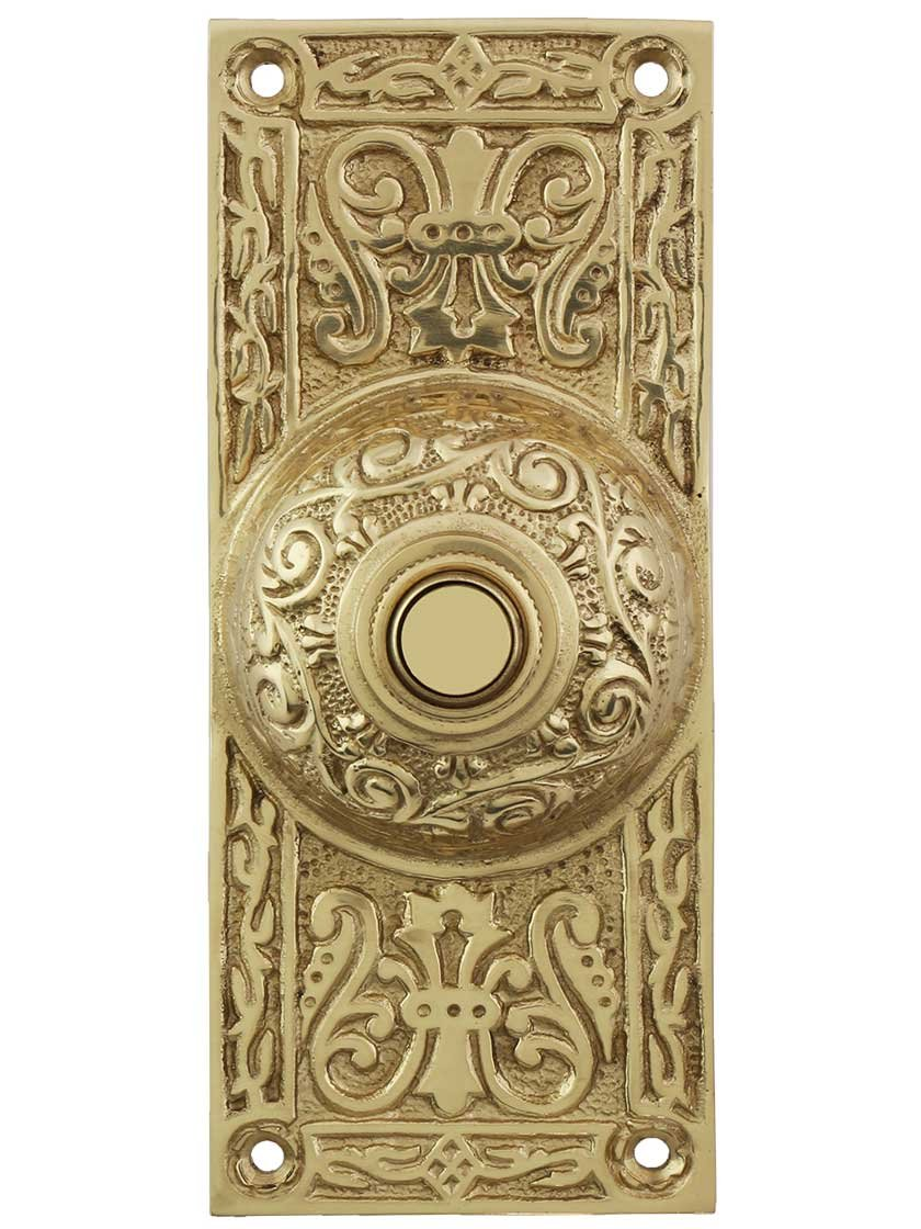 House of Antique Hardware R-010MG-312-AB Oval Beaded Solid-Brass Doorbell Button in Antique Brass