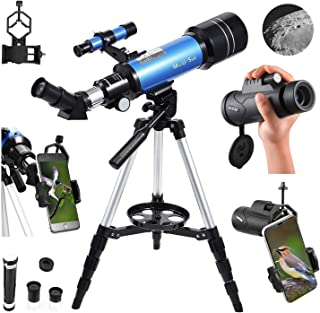 MaxUSee 70mm Refractor Telescope with Adjustable Tripod for Kids Adults & Beginners + Portable 10X42 HD Monocular Bak4 Prism FMC Lens, Travel Scope with Backpack and Phone Adapter