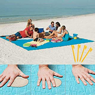 Sand Proof Blanket Sand Free Lightweight Compact Large Beach Towel Mat Fast Dry Waterproof Easy Clean Ultra Portable Blanket (Blue, 79