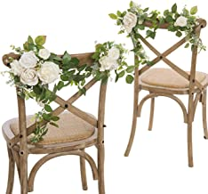 Ling's moment Wedding Chair Decoration Artificial Flower Decor for Bride Groom Mr Mrs Aisle Pew Chair Back for Greenery Wedding Ceremony Decoration