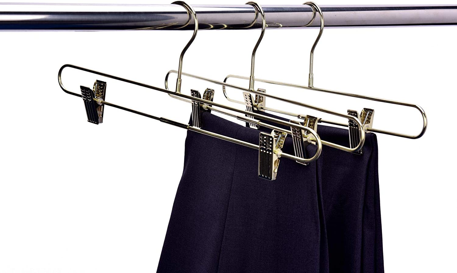 Anti-Rust Jean Slack /& Trouser Hangers 10-Pack Pant /& Skirt Hanger Set Quality Pant Hangers Pants Gold Pant Hangers with Clips Durable 360-Degree Metal Swivel Hook Hangers for Clothes