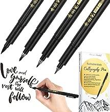 Refill Brush Calligraphy Pen for Lettering, 4 Sizes Black Brush Marker Pen Calligraphy Set for Beginners Writing, Signature, Illustration, Design and Drawing (4 Brush Pens)