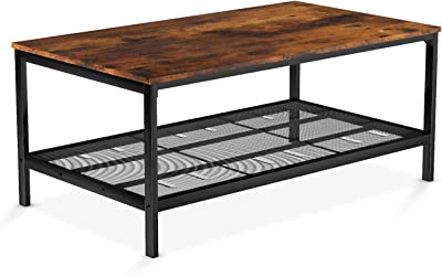 Recaceik Industrial Coffee Table, 2 Layers of Storage Table for Living Room, Brown