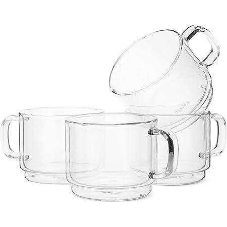 BTaT- Stackable Insulated Coffee Mug, Coffee Glass, Large, Set of 4 (16oz, 500ml), Double Wall Glass Coffee Cups, Tea Cups, Latte Cups, Glass Coffee Mug, Latte Mug, Clear Mugs, Glass Cups