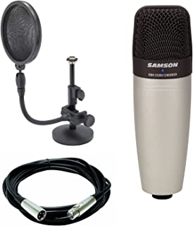 Samson C01 Large Diaphragm Condenser Microphone + Mic stand and mic pop filter combo & Mic Cable, 20 ft. XLR Bulk