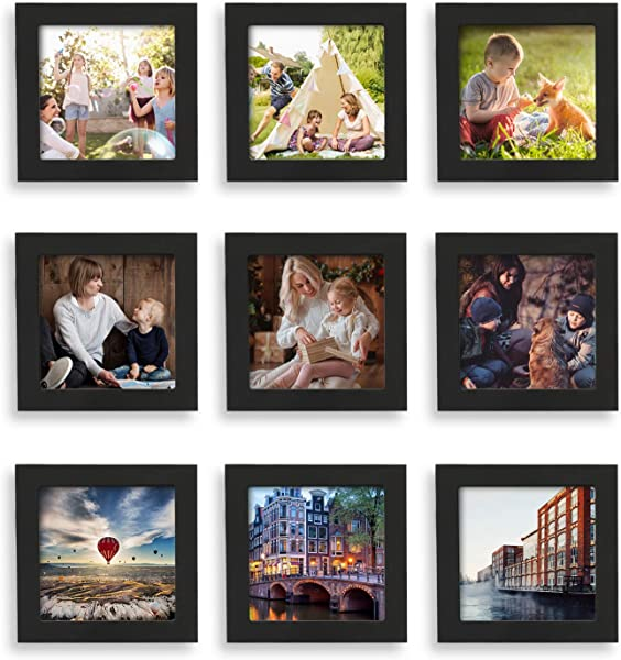 Home Margo 4x4 Frames Black Picture Frame Instagram Photo Collage Frame Set Of 9 4 Inch Square Small Picture Frames