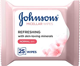 JOHNSON'S Cleansing Face Micellar Wipes, Refreshing, Normal Skin, Pack of 25 wipes