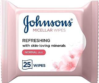 مناديل ميسيلار المبللة للوجه من جونسون لترطيب البشرة الجافة، تتكون العبوة من 25 منديل مبلل.