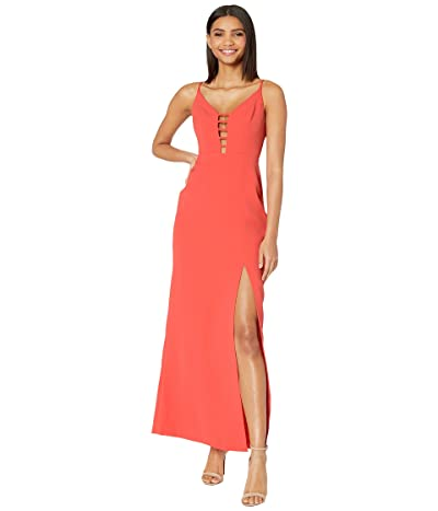 BCBGMAXAZRIA Cut Out Detail Evening Gown with High Slit (Poinsettia) Women