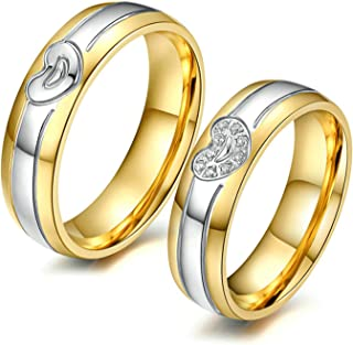 2 Pcs Stainless Steel Couples Promise Rings Wedding Bands Love Heart CZ Inlay Rings Size 5-12