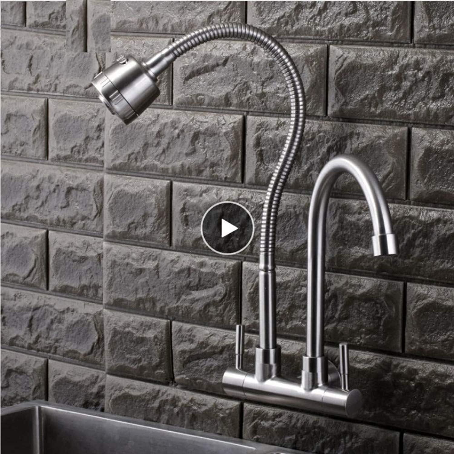 Dwthh Wall Mounted Double Handle Double Water Head Kitchen Sink Faucet Stainless Steel Surface