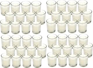 Hosley 48 Pack Wax Filled Votive Candles Warm White Clear Glass Filled Votive- Your Choice of Color and Quantity. Hand Poured Candle Ideal Gifts for Aromatherapy Weddings Birthdays Holidays Party