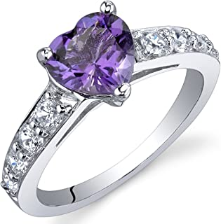 Dazzling Love 1.00 Carats Amethyst Ring in Sterling Silver Rhodium Nickel Finish Sizes 5 to 9