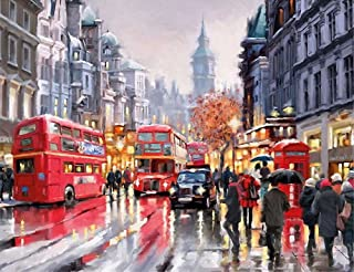 ABEUTY DIY Paint by Numbers for Adults Beginner - Building England Red Bus Street 16x20 inches Number Painting Anti Stress Toys (Wooden Framed)