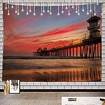 Batmerry Sunset Tapestry, Huntington Beach Pier Picnic Mat Beach Towel Wall Art Decoration for Bedroom Living Room Dorm, 51.2 x 59.1 Inches, Blue Dusk Gold