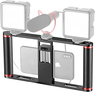 Neewer Smartphone Video Rig Stabilizer, Aluminium Alloy Grip with 3 Cold Shoe Mounts for Videomaker Film-Maker Video-graph...