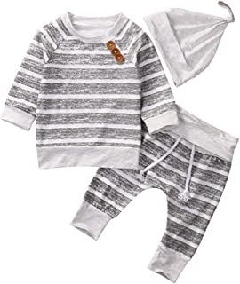 T TALENTBABY 2020 Neugeborenes Baby Boy Kleidung Sets Strampler Gestreifte Oberteile T-Shirt Hose Hut Outfit Baumwolle Body, Hellgrau